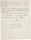 """Autographs:U.S. Presidents, Bill Clinton Autograph Letter Signed. One page, 8.5"""" x 11"""", [FortRobinson, North Little Rock, Arkansas], postmarked June 6,..."""