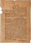 "Autographs:Statesmen, Colonial America: 1762 Naturalization Certificate Signed by EdwardShippen IV (""Junr.""). One partly-printed page..."
