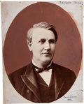 Photography:Signed, [Thomas A. Edison]. Photograph with Artist-Rendered Signature. The large oval photograph of the middle-aged inventor is back...