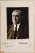 """Autographs:U.S. Presidents, Woodrow Wilson Photograph Signed. Overall size of 6"""" x 9"""". Printedin the lower right corner, """"Copyright By Pach Bros."""" ..."""