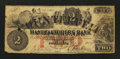 Obsoletes By State:Rhode Island, Providence, RI- Manufacturers Bank $2 Counterfeit/Altered Note Jan. 4, 1854. ...