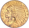 Indian Half Eagles, 1913-S $5 MS62+ PCGS Secure....