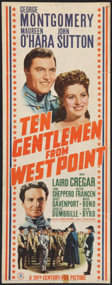 "Ten Gentlemen from West Point (20th Century Fox, 1942). Insert (14"" X 36""). Drama"