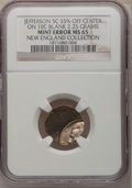 Undated 5C Jefferson Nickel--Struck 55% Off-Center on a Clad Dime Planchet--MS65 NGC