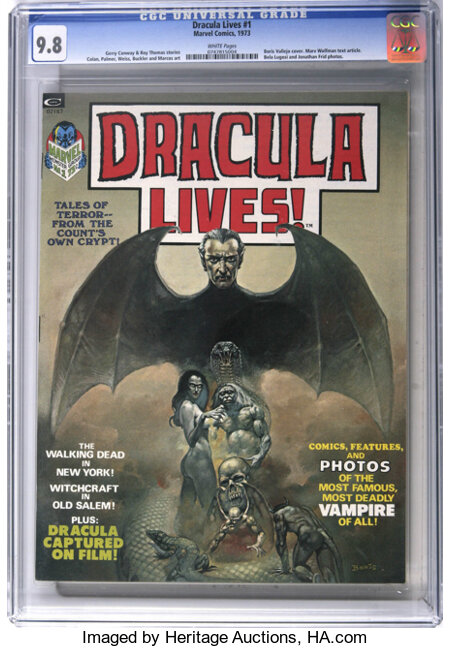 Dracula Lives! #1 (Marvel, 1973) CGC NM/MT 9.8 White pages....