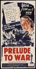 "Movie Posters:Documentary, Prelude to War (War Activities Committee, 1943). Three Sheet (41"" X 81""). War Documentary. ..."