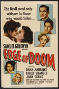 "Edge of Doom (RKO, 1950). One Sheet (27"" X 41""). Crime. Starring Dana Andrews, Farley Granger, Joan Evans and..."
