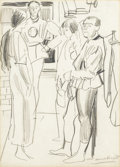 Fine Art - Painting, European:Modern  (1900 1949)  , LAURA KNIGHT (British, 1877-1970). Between Acts: Backstage atthe Royal Opera House.... Graphite on paper. 13-1/2in. x 9...(Total: 1 Item)