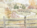 Fine Art - Painting, American:Contemporary   (1950 to present)  , MARGARET BURCHFIELD (American, Twentieth Century). Pasture withPond, 1972. Watercolor and ink on paper. 18in. x 23-1/2i...(Total: 1 Item)
