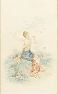 Fine Art - Painting, European:Antique  (Pre 1900), LIONEL PERAUX (French, b. 1871). Woman Playing Instrument. Watercolor on paper. 16in. x 10in.. Signed at lower left Li... (Total: 1 Item)