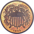 Proof Two Cent Pieces, 1864 2C Large Motto Two Cent Piece PR64 Red and Brown PCGS....