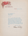 Autographs:Letters, 1915 Charles Comiskey Signed Letter....