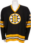 Hockey Collectibles:Uniforms, 1974-75 Phil Esposito Game Worn Boston Bruins Jersey - With PerfectPhotomatch!...