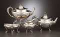 Silver Holloware, American:Coffee Pots, A FOUR PIECE AMERICAN COIN SILVER AND SILVER GILT TEA AND COFFEESERVICE . Gorham Manufacturing Co., Providence, Rhode Islan...(Total: 4 Items)