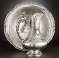 Silver Holloware, Continental:Holloware, A FRENCH SILVER EWER AND BASIN . Ferry, Paris, France, circa 1870.Marks: Ferry, (Minerva's head), (back stamp). 12-5/8 ...(Total: 2 Items)