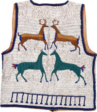 A SIOUX PICTORIAL BEADED HIDE VEST c. 1890