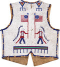 Paintings, A SIOUX PICTORIAL BEADED HIDE VEST. c. 1890...