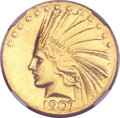 Indian Eagles, 1907 $10 Wire Rim--Improperly Cleaned--NGC Details. AU....