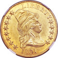 Early Eagles, 1801 $10 MS62+ NGC. Breen-6843, BD-2, R.2....