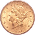 Liberty Double Eagles, 1881-S $20 MS62 PCGS. CAC....