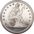 Proof Seated Dollars, 1863 $1 Seated Dollar PR64 Cameo PCGS....