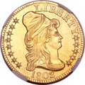 Early Half Eagles, 1802/1 $5 --Improperly Cleaned--NGC Details. Unc. Breen-6440, BD-8,R.4....