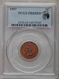 Proof Indian Cents, 1907 1C PR65 Red PCGS. Eagle Eye Photo Seal....