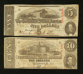 Confederate Notes:1863 Issues, T59 $10 1863. T60 $5 1863.. ... (Total: 2 notes)