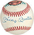 Baseball Collectibles:Balls, Mickey Mantle Single Signed Portrait Baseball....