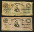 Confederate Notes:1863 Issues, Two Different $50's.. ... (Total: 2 notes)
