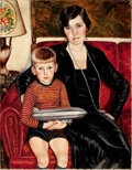 Mainstream Illustration, MIRIAM TINDALL SMITH (American, 20th Century). Portrait ofMother and Child. Oil on canvas. 36 x 28 in.. Signed upperri...