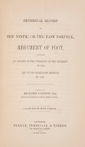 Books:First Editions, [British Regiments]. Richard Cannon. Historical Record of theNinth, or the East Norfolk, Regiment of Foot. London: ...