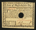 Colonial Notes:Massachusetts, Massachusetts May 5, 1780 $20 Choice About New.. ...