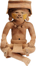 Antiques:Antiquities, Veracruz Seated Figure with Facial Patches...