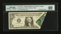 Error Notes:Foldovers, Fr. 1910-F $1 1977A Federal Reserve Note. PMG Extremely Fine 40.....