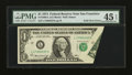 Error Notes:Foldovers, Fr. 1908-L $1 1974 Federal Reserve Note. PMG Choice Extremely Fine45 EPQ.. ...