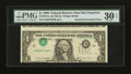 Error Notes:Inverted Third Printings, Fr. 1914-L $1 1988 Federal Reserve Note. PMG Very Fine 30 EPQ.. ...