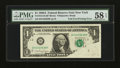 Error Notes:Foldovers, Fr. 1915-B $1 1988A Federal Reserve Note. PMG Choice About Unc 58EPQ.. ...