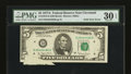 Error Notes:Foldovers, Fr. 1975-D $5 1977A Federal Reserve Note. PMG Very Fine 30 EPQ.....