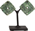 Antiques:Antiquities, A Pair of Green Stone Ear Flares... (Total: 2 Items)