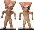 Antiques:Antiquities, A Pair of Veracruz Articulated Smiling Figures... (Total: 2 Items)