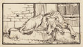 Mainstream Illustration, ARTHUR RACKHAM (British, 1867-1939). Old Sultan, for Grimm'sFairy Tales, 1900. Pen and ink on artists' board. 2.5 x 4 i...