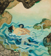 EDMUND DULAC (British, 1882-1953) Myths the Ancients Believed - Glaucus and Scylla, American Weekly cover</