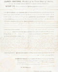 "Autographs:U.S. Presidents, James Monroe Land Grant Signed. One vellum page, 11.5"" x 14.75"",""City of Washington,"" March 7, 1818, countersigned by G..."