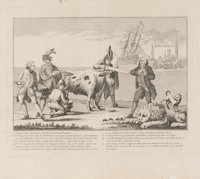 "[A Picturesque View of the State of the Nation] Political Cartoon Print Showing Philadelphia, 1778. 12.5"" x 11""..."