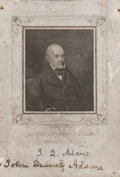 """Autographs:U.S. Presidents, John Quincy Adams Portrait Signed """"John Quincy Adams."""" Thesixth president has signed the lower margin of a 3.25"""" x 4.5""""..."""