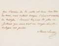 """Autographs:Non-American, Mary Louise Autograph Quotation Signed """"Marie Louise"""" as theempress of France and second wife of Napoleon Bonaparte. On..."""