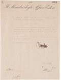 "Autographs:Non-American, Benito Mussolini Document Signed ""Mussolini"" on Minister ofForeign Affairs letterhead. One page in Italian, 8.25"" x 11""..."