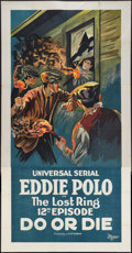 """Movie Posters:Serial, Do or Die (Universal, 1921). Three Sheet (41"""" X 81"""") Episode 12 --""""The Lost Ring."""" Serial.. ..."""