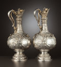 Silver Holloware, British:Holloware, A PAIR OF VICTORIAN SILVER AND SILVER GILT CLARET JUGS . EdwardBarnard & Sons Ltd., London, England, 1896-1897. Marks: (lio...(Total: 2 Items)